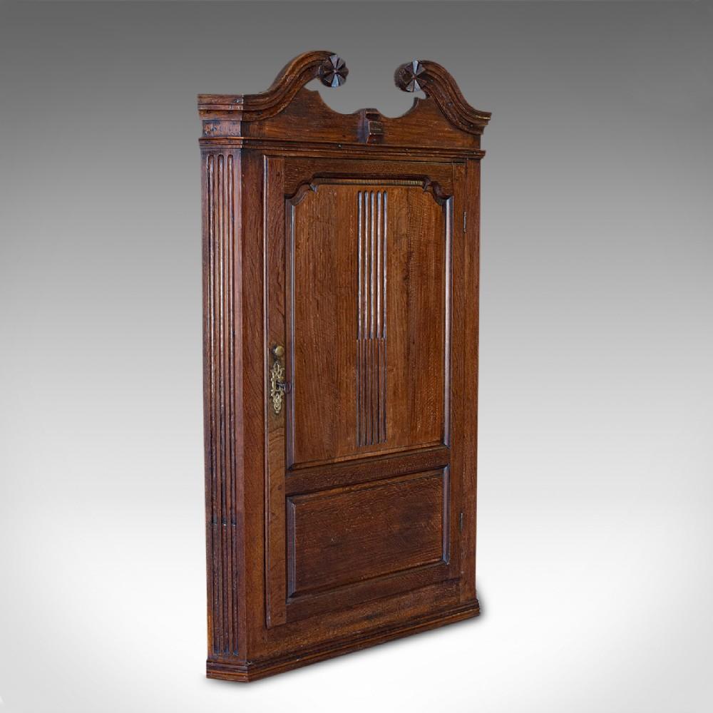 antique georgian corner cabinet english oak wall hanging cupboard circa 1780