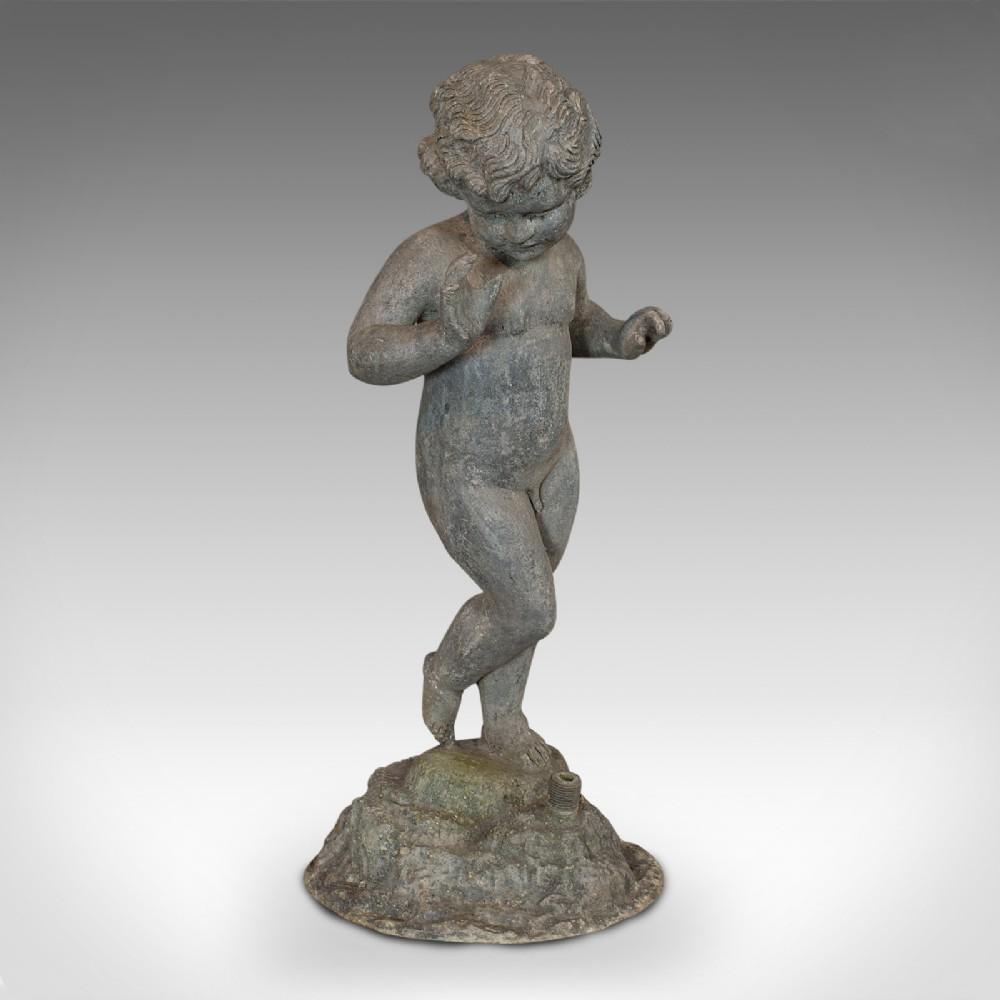 antique cherub english lead putto statue ornamental garden victorian 1900