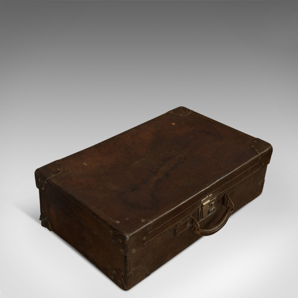 antique officer's case english leather travel suitcase luggage c1920