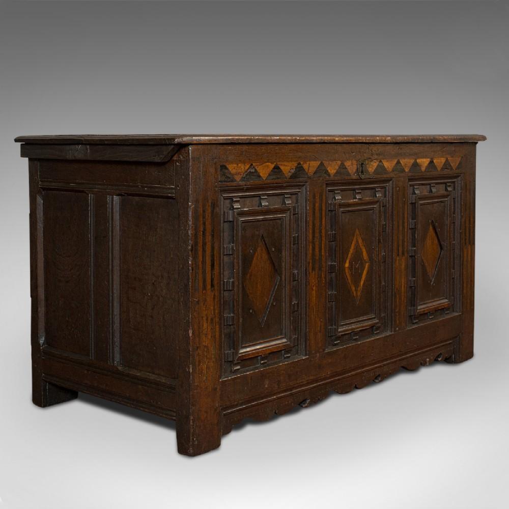 antique coffer english oak 3 panel linen chest trunk william iii c1700