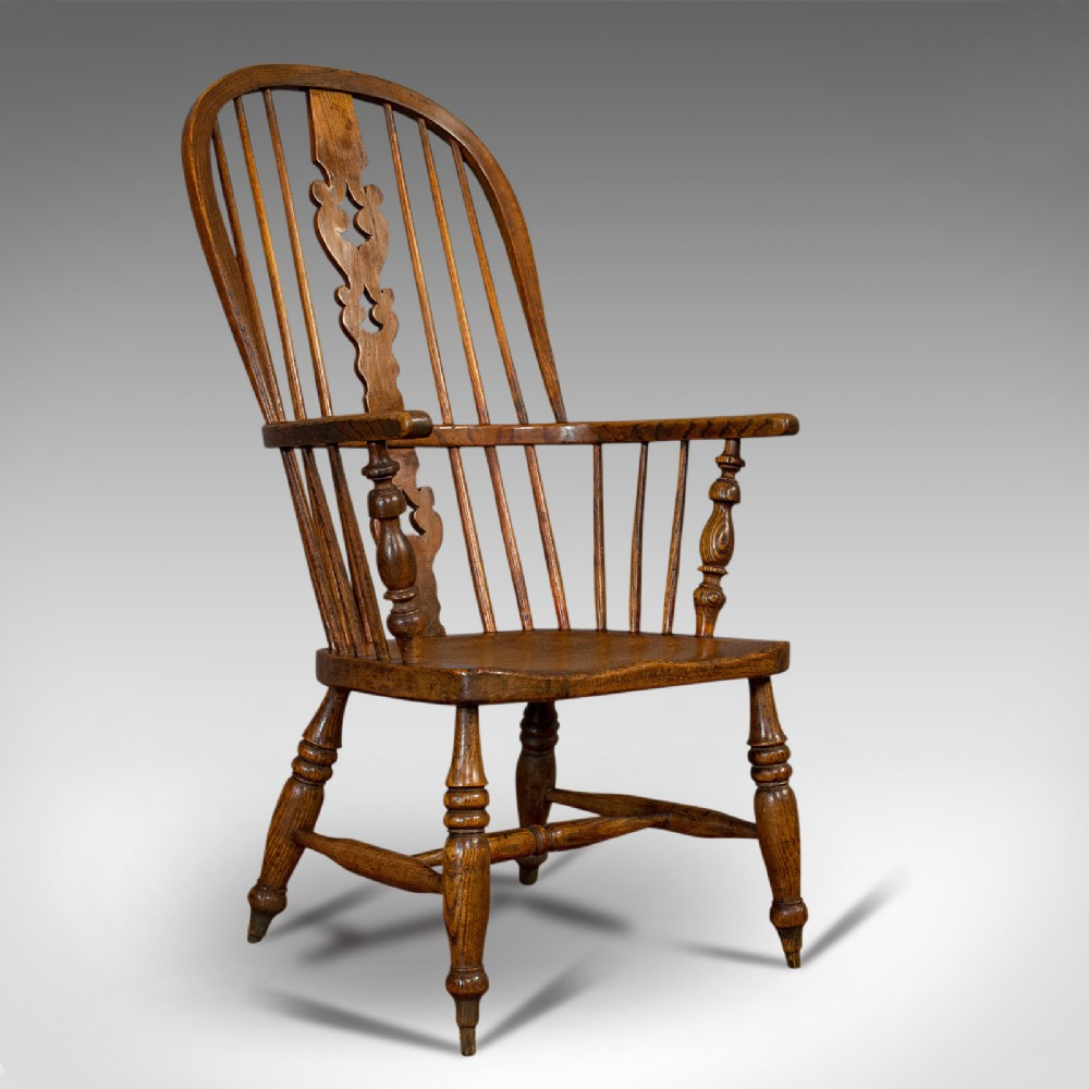 antique windsor chair british elm ash elbow armchair victorian circa 1860