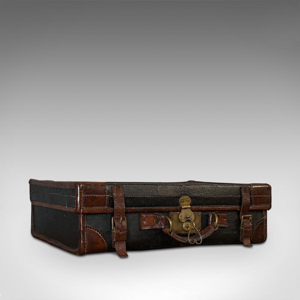 antique suitcase english leather salesman banker travel case edwardian