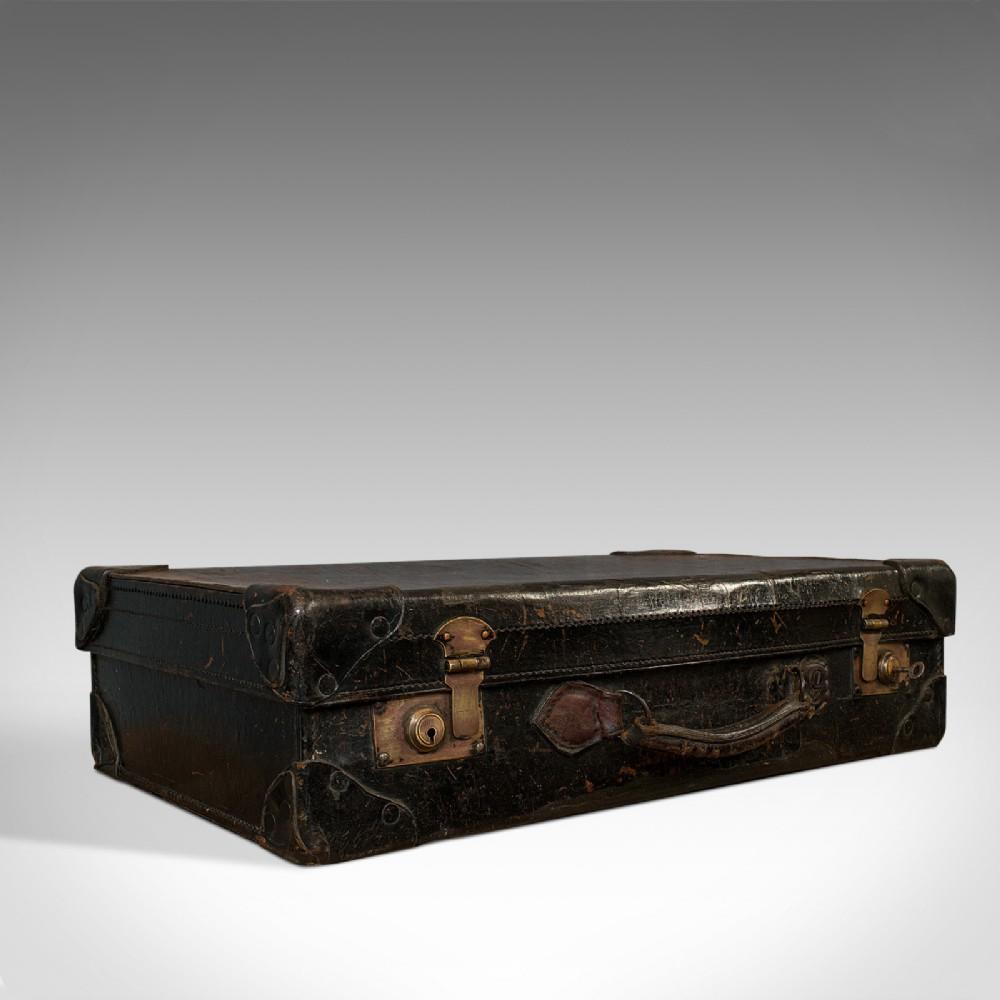antique suitcase english leather travel salesman officer case edwardian