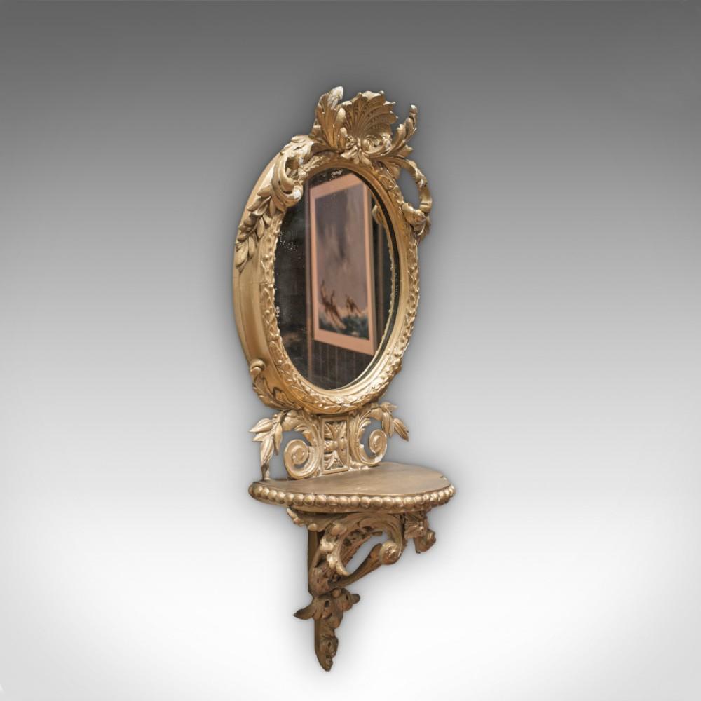 antique wall mirror french gilt gesso oval ornate victorian circa 1850