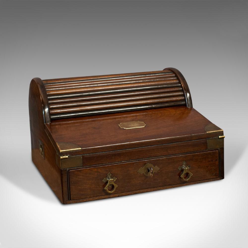 antique campaign writing slope ship's captain correspondence desk victorian