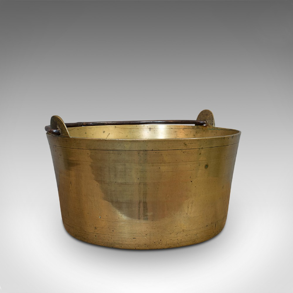 antique artisan jam pan french solid brass kitchen pot victorian circa 1900