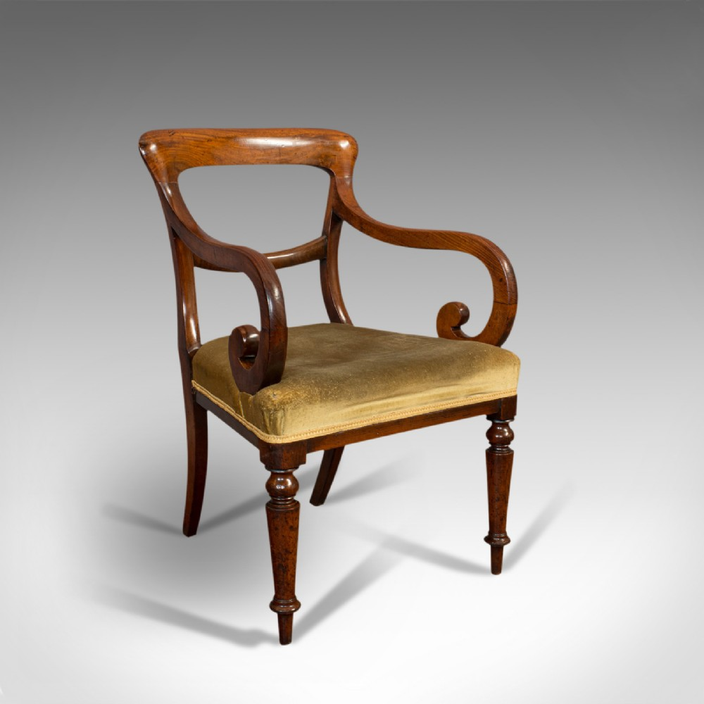 antique serpentine arm chair english mahogany elbow seat regency circa 1820
