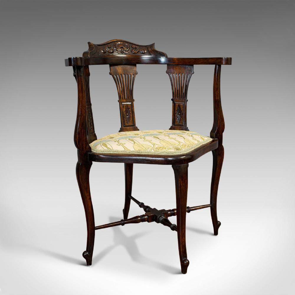 antique corner arm chair french beech seat art nouveau victorian c1890