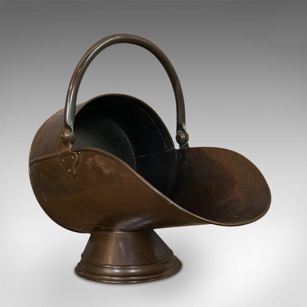 antique coal scuttle english copper brass fireside bin victorian c1900