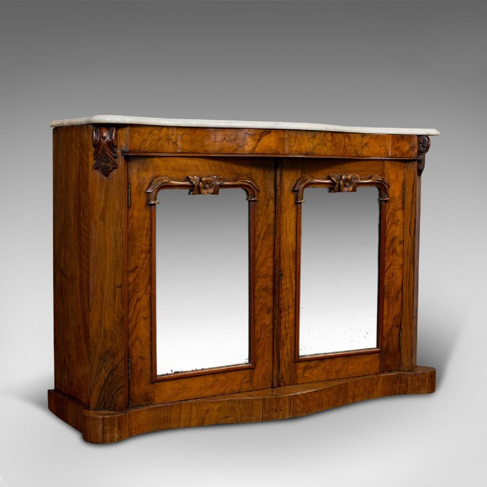 antique mirrored side cabinet english walnut marble dresser victorian 1850