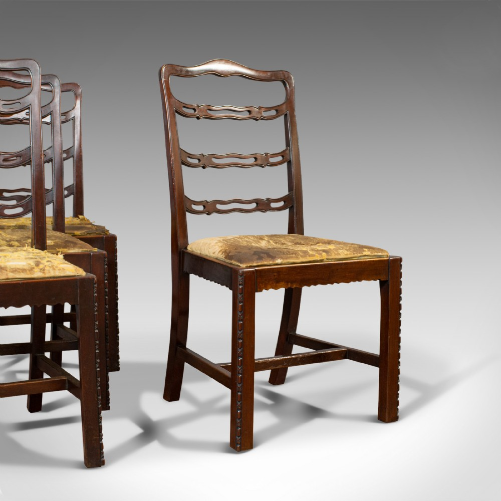 set of 4 antique ladder back chairs irish mahogany dining seat victorian