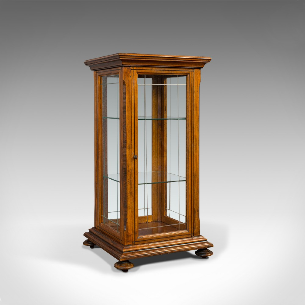 antique shop display cabinet english oak walnut showcase edwardian c1910