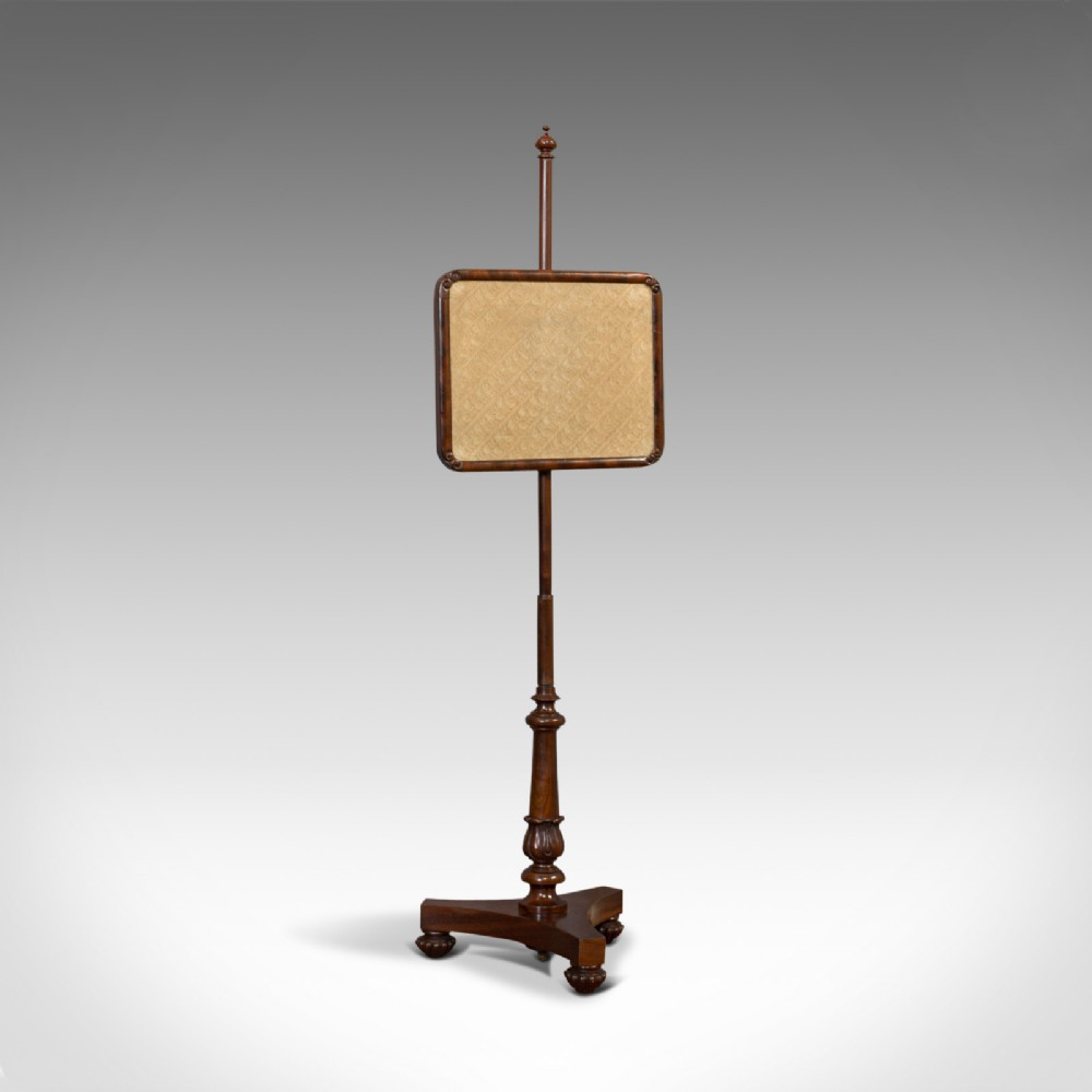 antique pole screen english mahogany fireside screen tapestry regency 1820