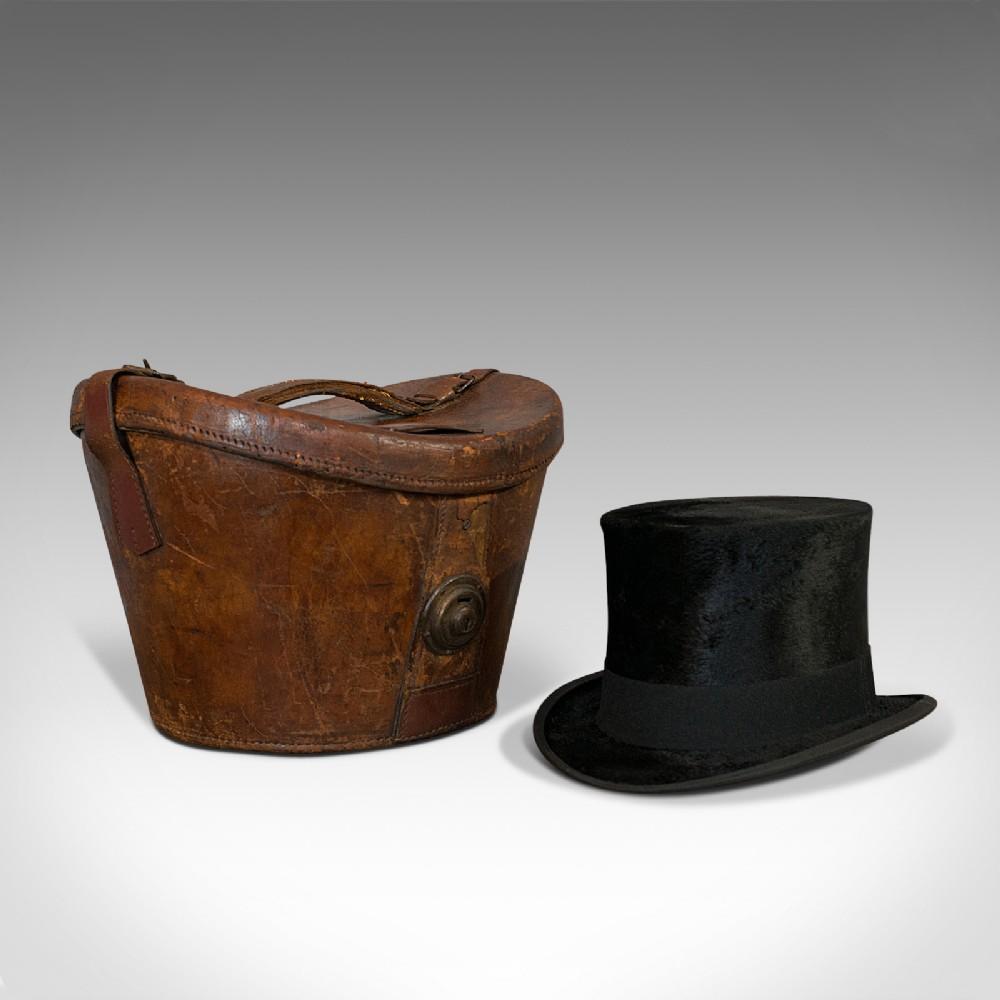 antique hat box english leather case silk top hat dunn regency circa 1820