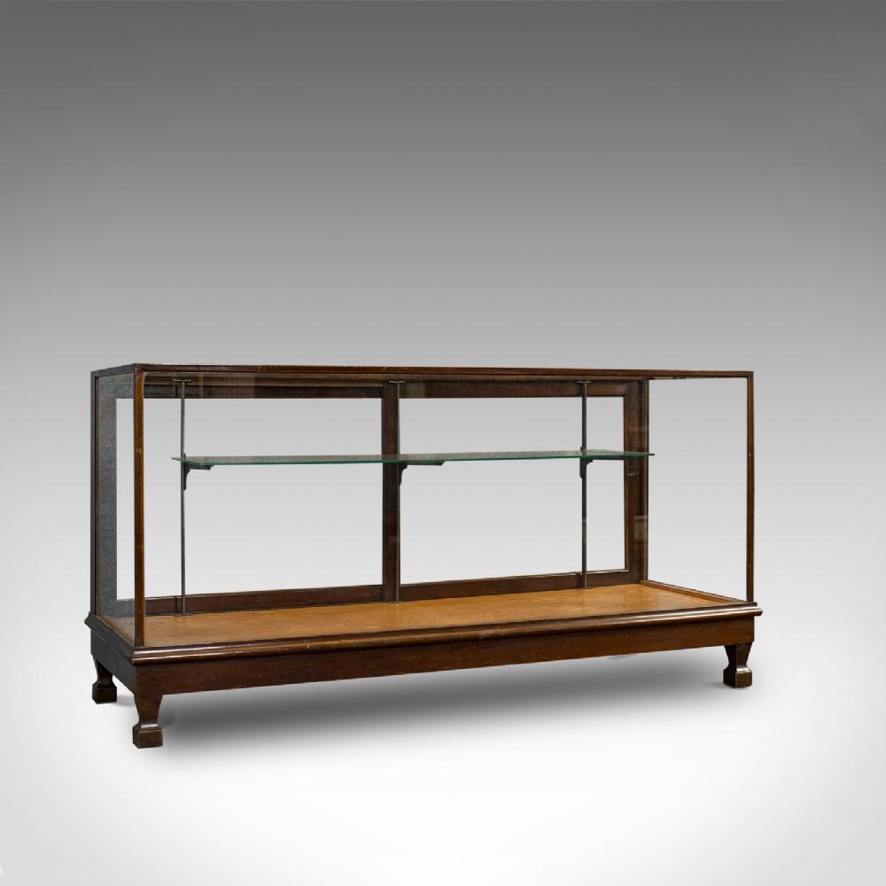 large antique shop display cabinet english oak showcase edwardian c1910