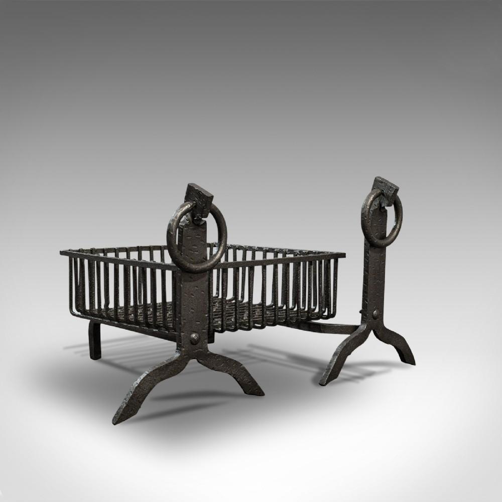 antique fireplace set english cast iron fire basket andirons victorian