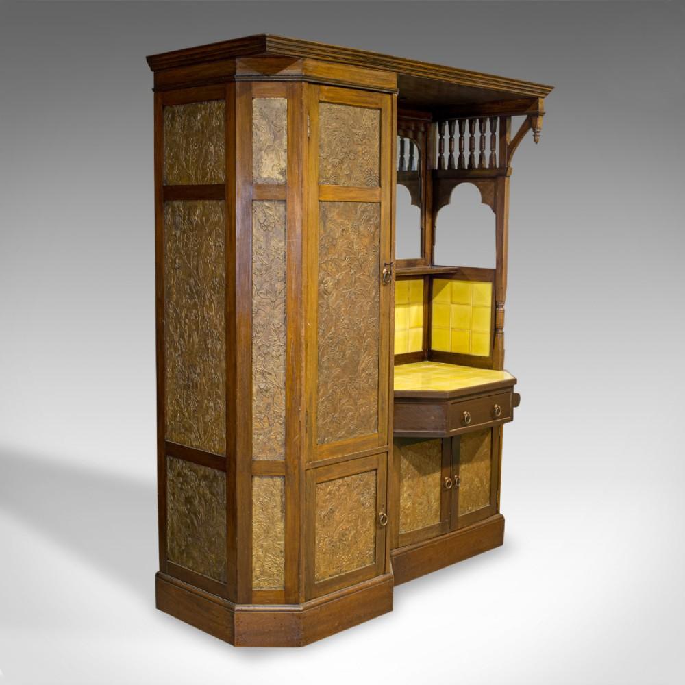 antique wardrobe english walnut art deco vanity liberty of london c1920