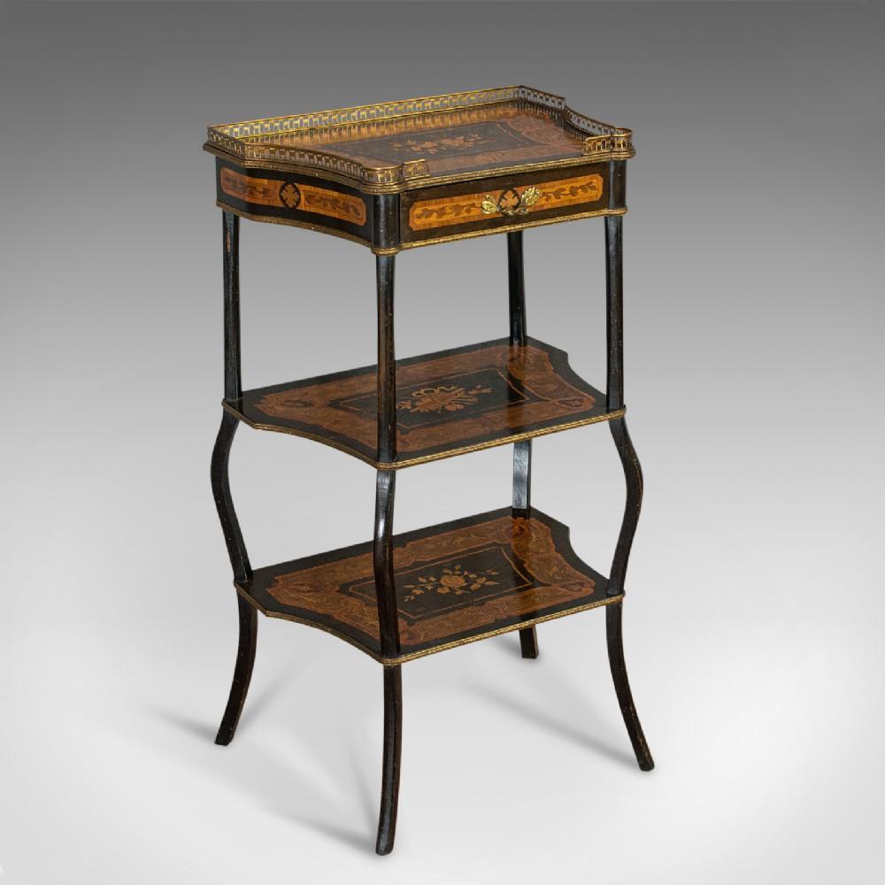 antique etagere italian mahogany boxwood 3 tier whatnot victorian c1900