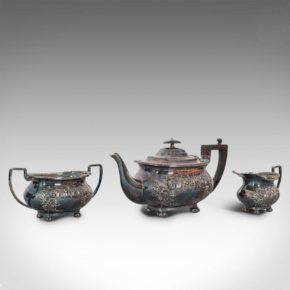 antique tea service english silver plated teapot dish milk jug edwardian
