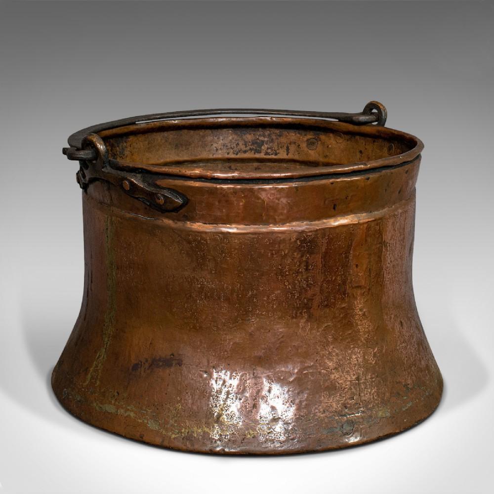 large antique fire bucket english copper fireside log cauldron georgian