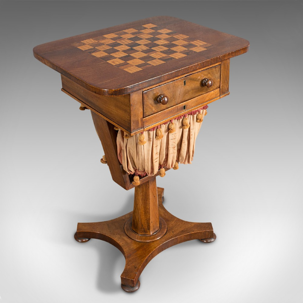 antique games table english mahogany chess workstation victorian 1860