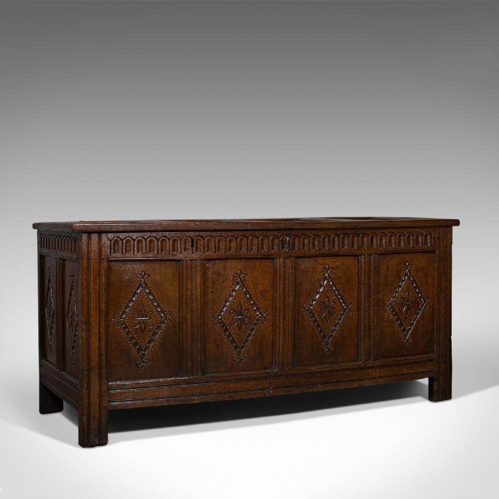 antique charles ii coffer english oak plank chest 17th century trunk c1680