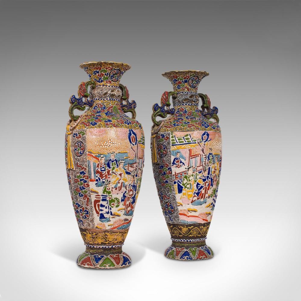 pair of tall antique satsuma vases japanese ceramic decorative moriage 1900