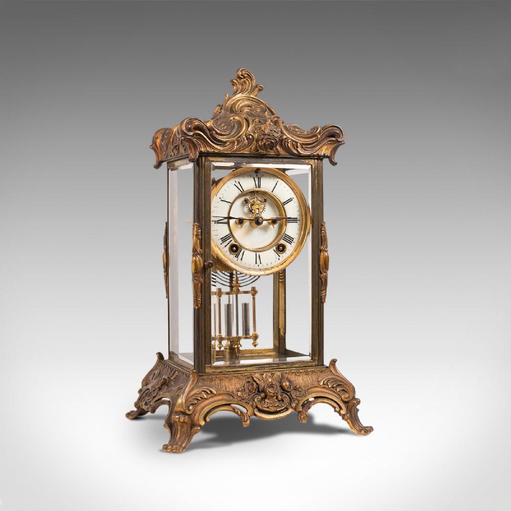 antique mantel clock french gilt bronze ormolu brocot escapement circa 1900