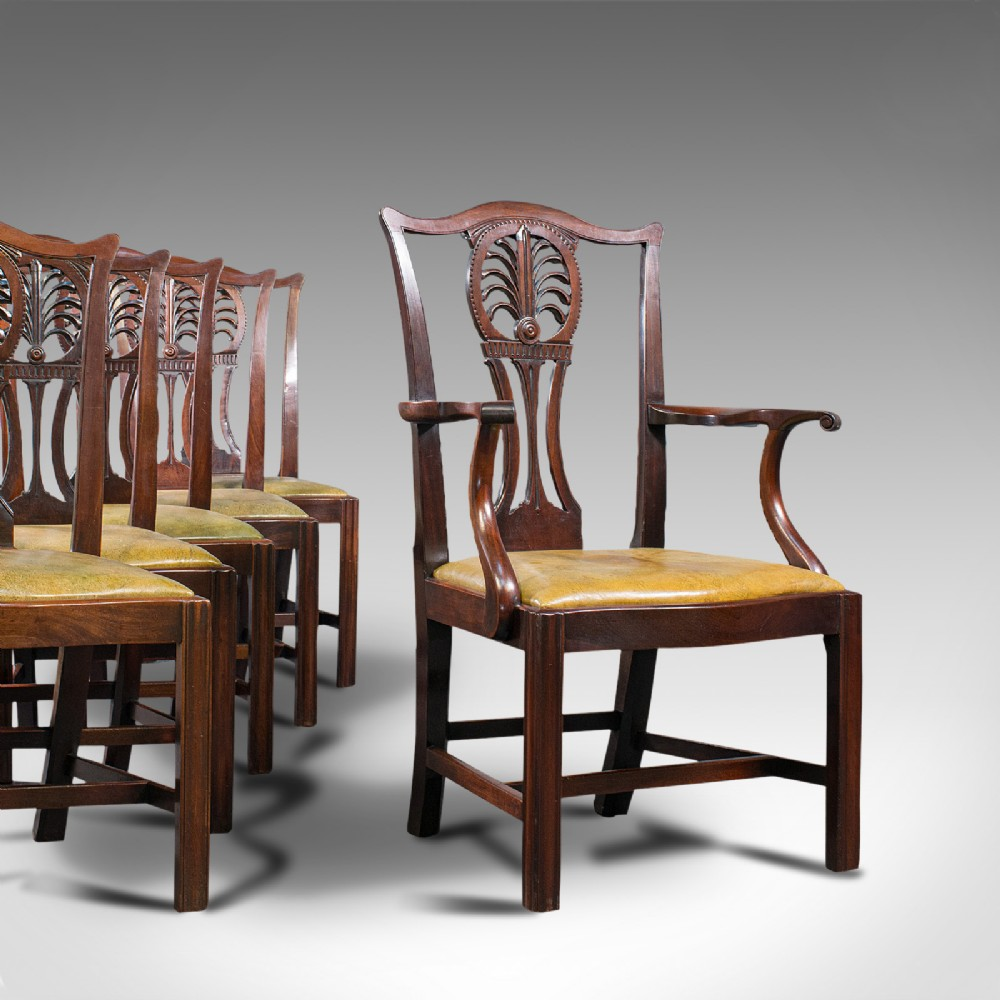 antique set of 6 dining chairs english mahogany leather seats victorian