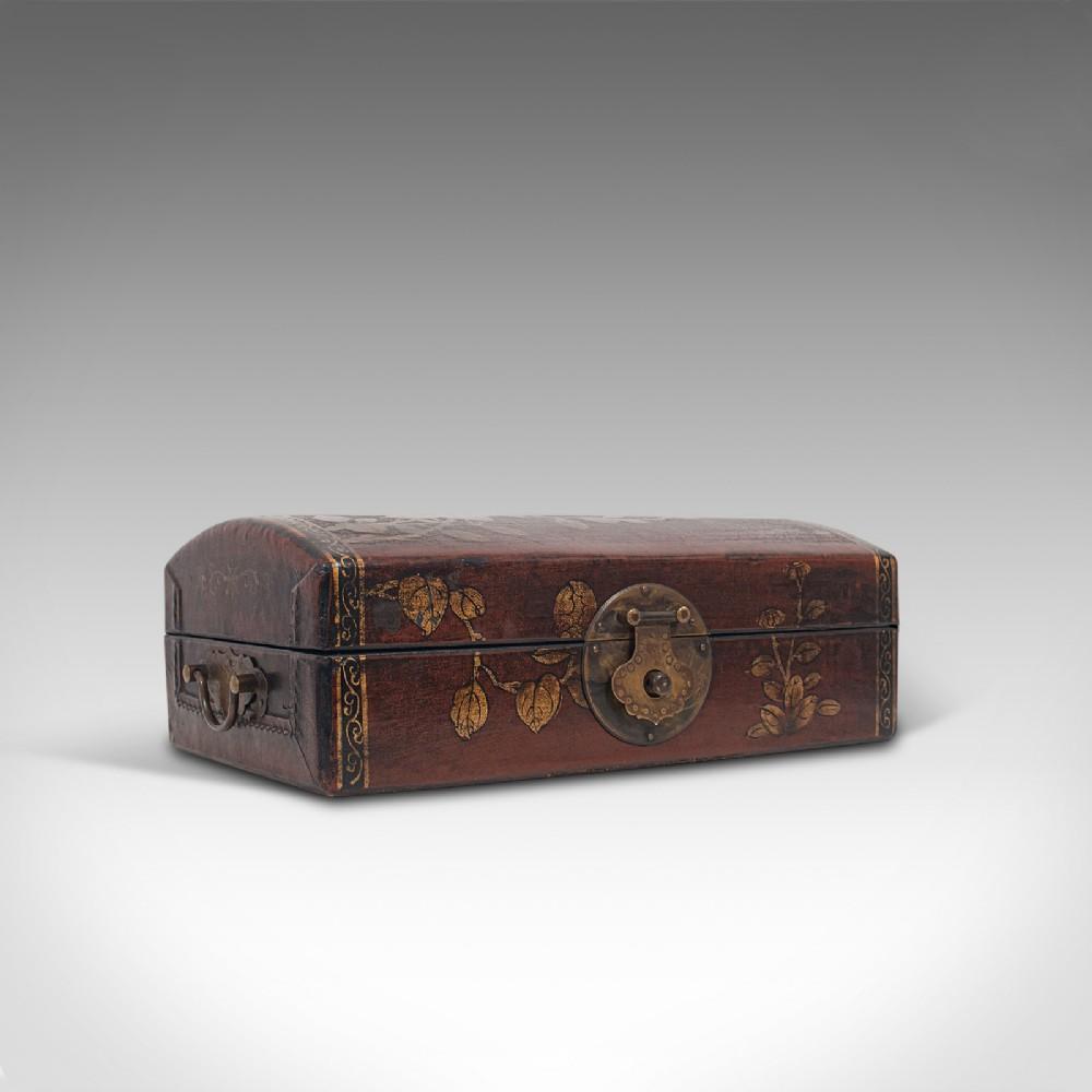 antique jewellery box japanese leather meiji period circa 1900