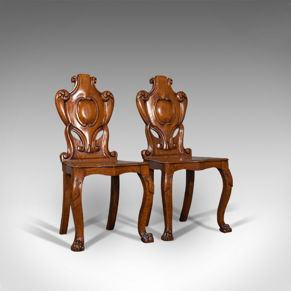 pair of antique shield back chairs scottish oak hall seat victorian c1880