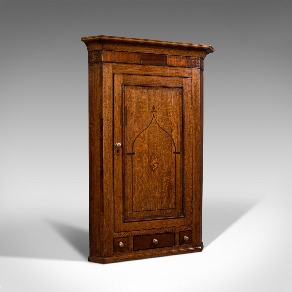 superb antique corner cabinet english oak mahogany inlay cupboard georgian