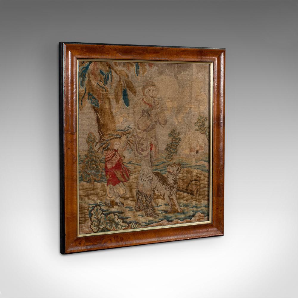 antique tapestry panel english needlepoint burr walnut decorative c1800