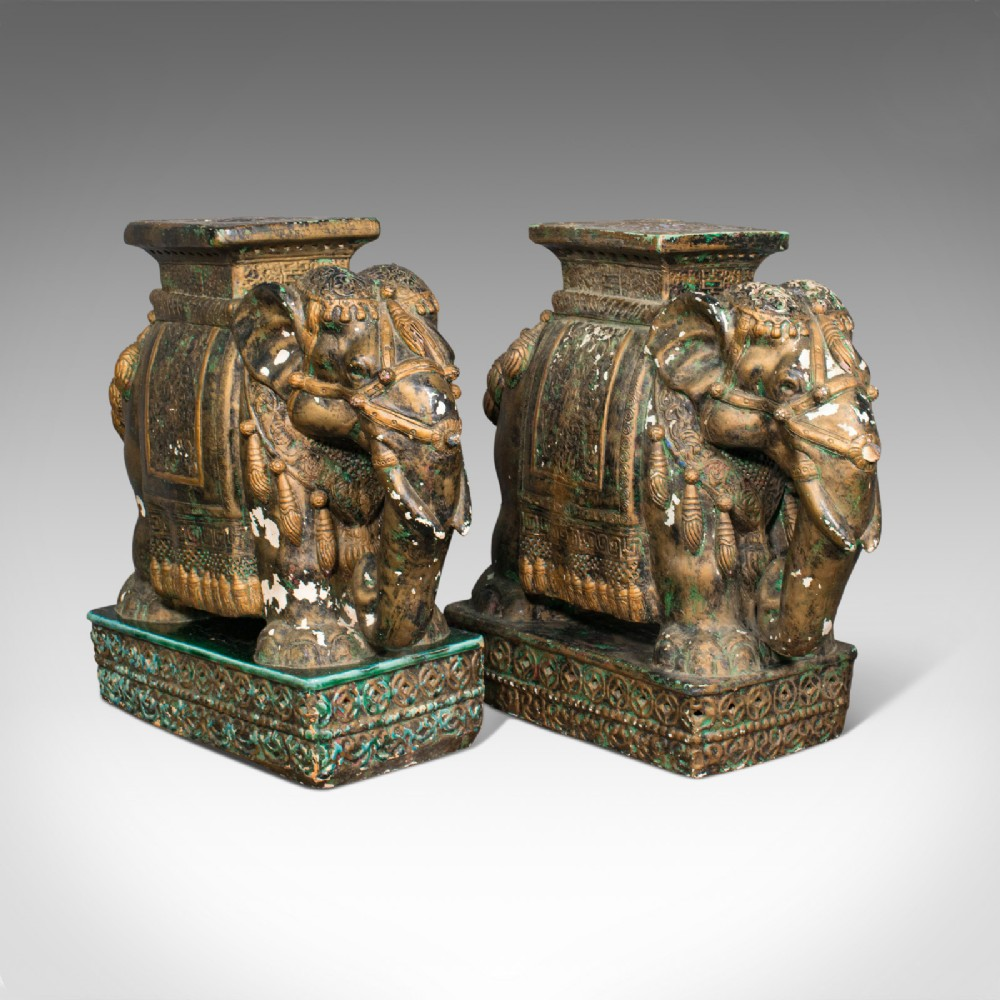 pair of antique decorative elephant side table indian ceramic occasional