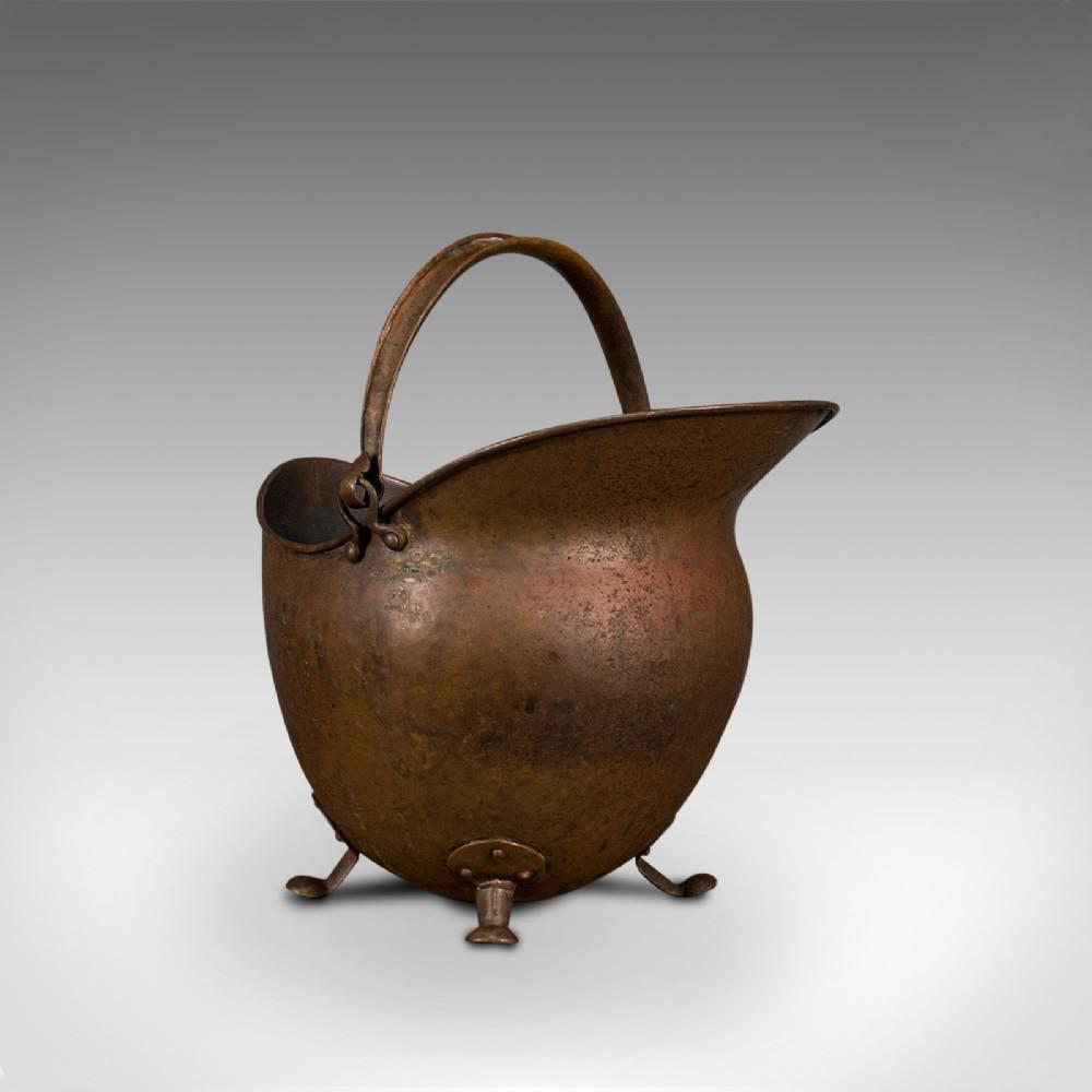 antique helmet scuttle english copper coal basket fireplace victorian 1880