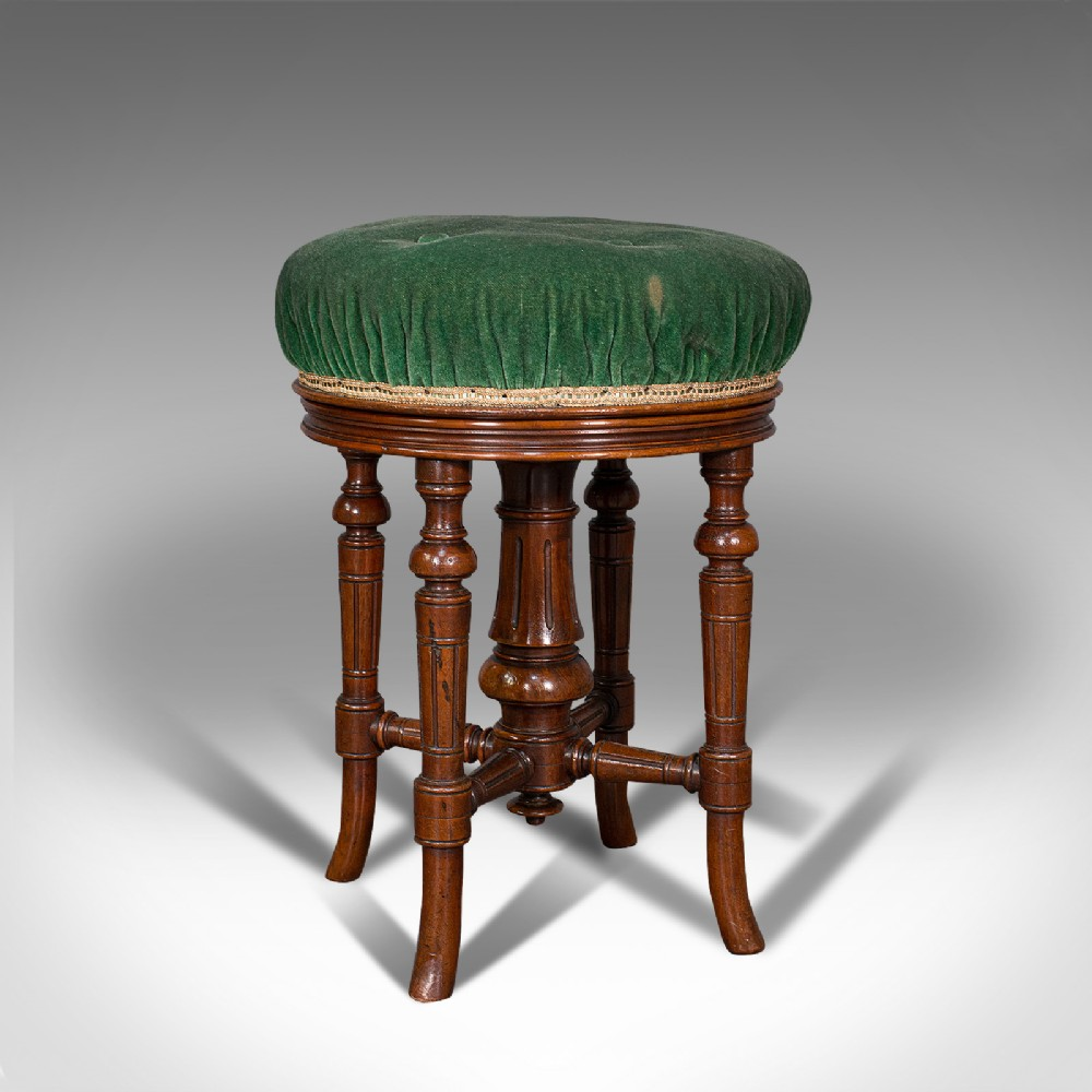 antique revolving music stool english walnut piano charles wadman c1880