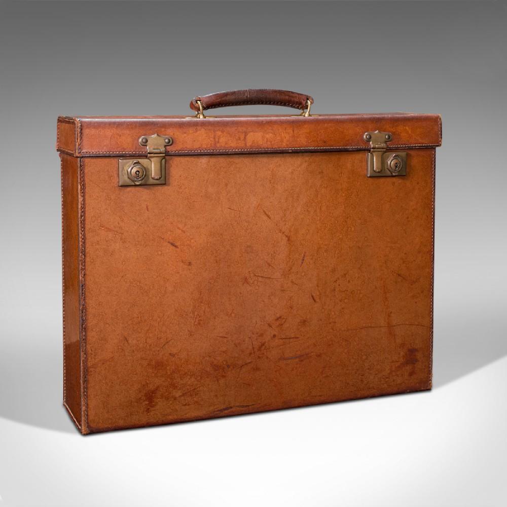 antique folio case english leather record producer's attache briefcase 1920