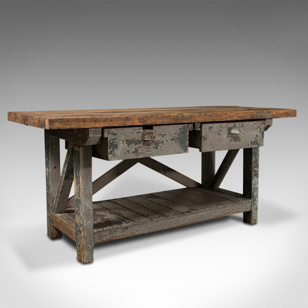 large antique silversmith's bench english pine craftsman's table victorian