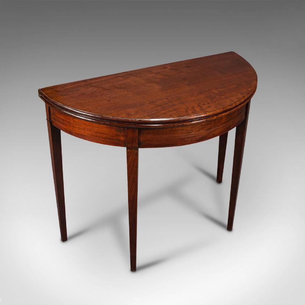 antique folding tea table english mahogany side demi lune georgian c1800