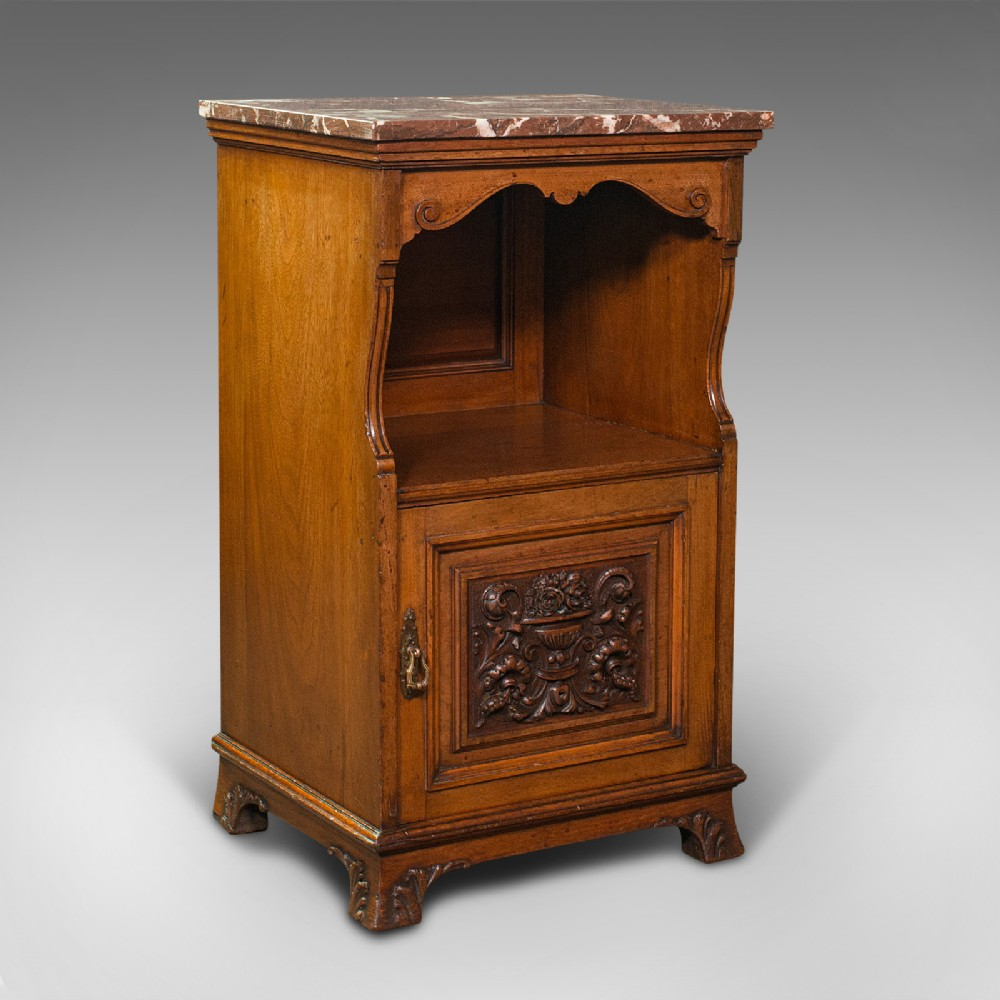 antique nightstand english walnut bedside cabinet gillow co victorian