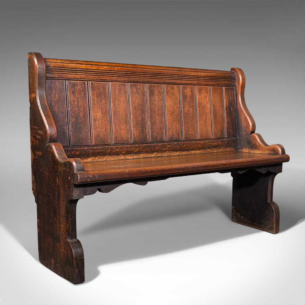 antique freestanding pew scottish oak bench seat ecclesiastical victorian