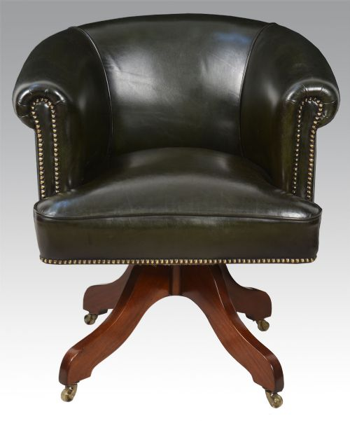 art deco green leather upholstered revolving office chair