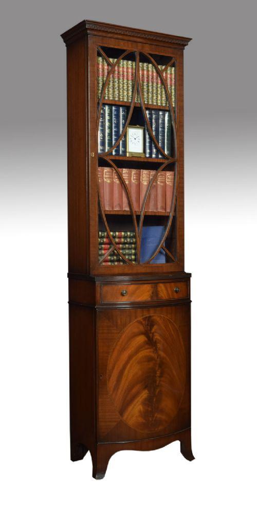 mahogany bow fronted bookcase