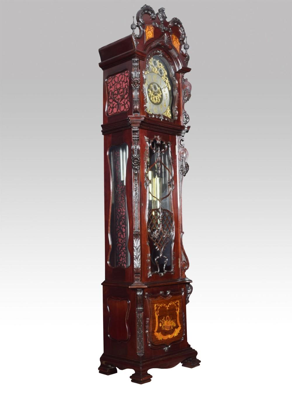 extremely large exhibition quality tubular chiming longcase clock