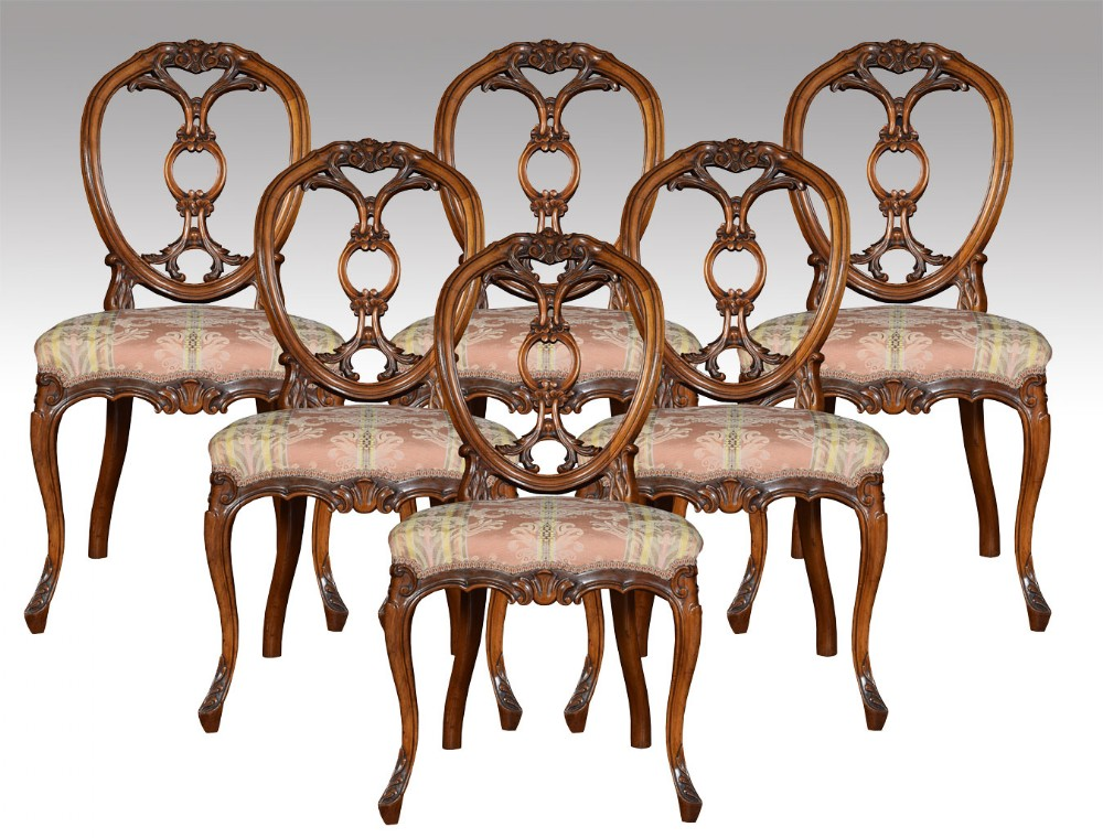 Set Of Six Victorian Walnut Dining Room Chairs 364660