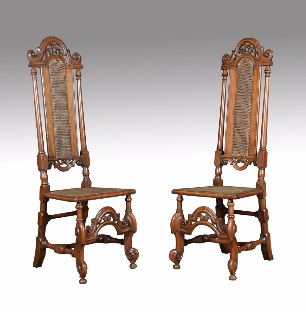 17th century walnut high back chairs
