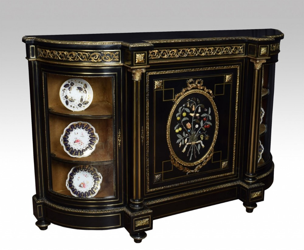 napoleon iii gilt bronze and pietra dura mounted ebonized cabinet credenza