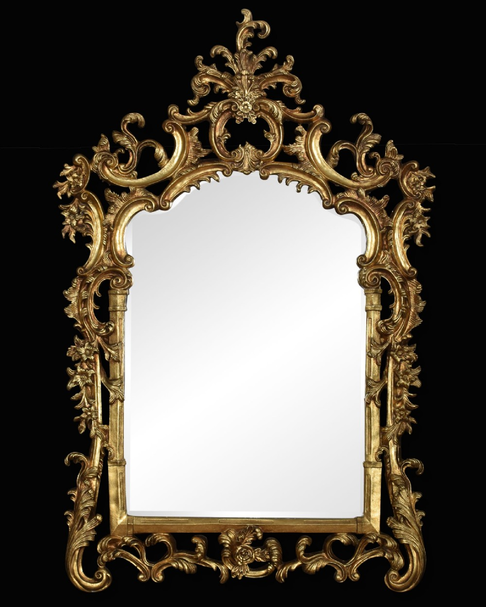 substantial chippendale style gilt wall mirror