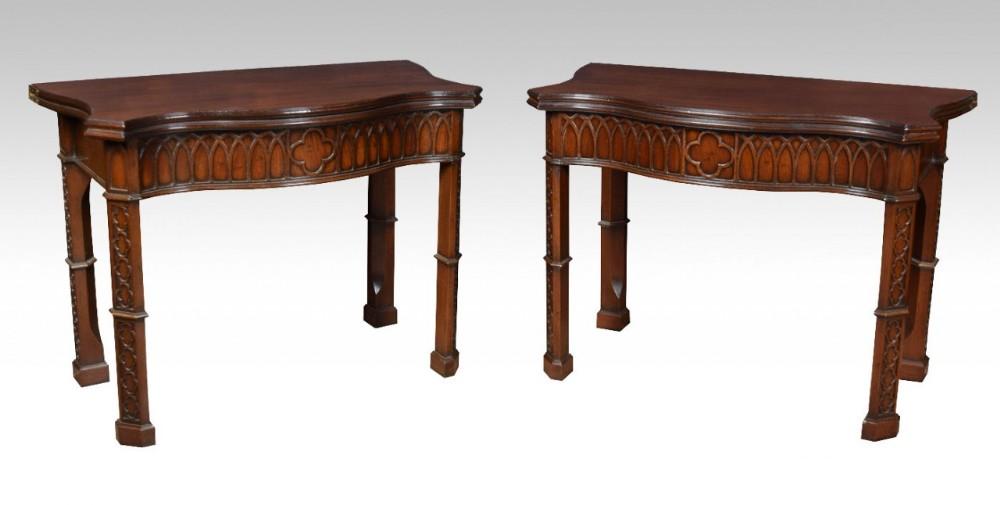 pair of mahogany gothic revival card tables