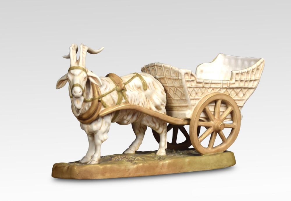 royal dux figure of a ram pulling a cart
